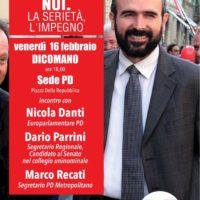 16 febbraio: Dicomano, iniziativa con Nicola Danti e Marco Recati
