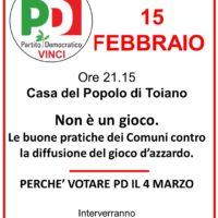 15 febbraio: a Toiano (Vinci) per parlare di gioco d'azzardo