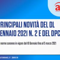 NORME IN VIGORE DAL 16 GENNAIO. LE PRINCIPALI NOVITÀ DEL DL 14 GENNAIO 2021 N. 2 E DEL DPCM