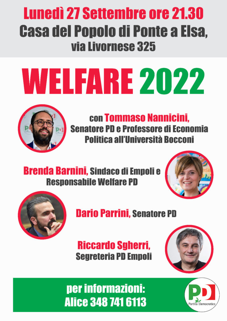 WELFARE 2022, NE PARLIAMO IL 27 SETTEMBRE A PONTE A ELSA